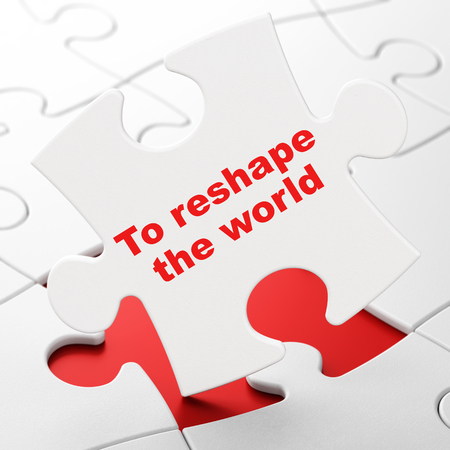 Political concept: To reshape The world on White puzzle pieces background, 3D rendering