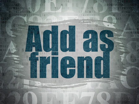 add as friend: Social media concept: Painted blue text Add as Friend on Digital Data Paper background with   Hexadecimal Code Stock Photo