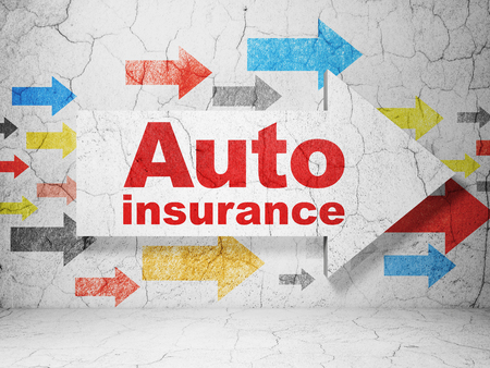 Insurance concept:  arrow with Auto Insurance on grunge textured concrete wall background, 3D rendering