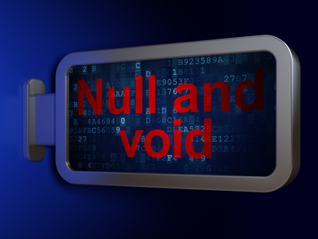 Law concept: Null And Void on advertising billboard background, 3D rendering Stock Photo
