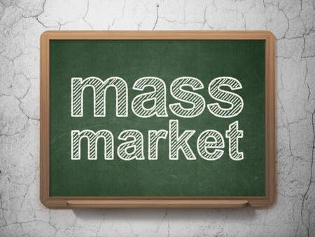 Advertising concept: text Mass Market on Green chalkboard on grunge wall background, 3D rendering