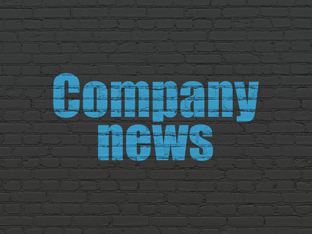 old brick wall: News concept: Painted blue text Company News on Black Brick wall background