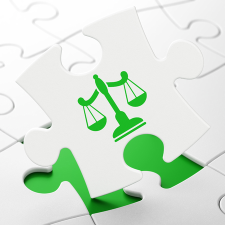 Law concept: Scales on White puzzle pieces background, 3D rendering Stock Photo