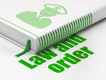 Law concept: closed book with Green Police icon and text Law And Order on floor, white background, 3D rendering 写真素材