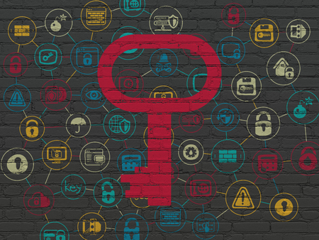 lock block: Privacy concept: Painted red Key icon on Black Brick wall background with Scheme Of Hand Drawn Security Icons Stock Photo
