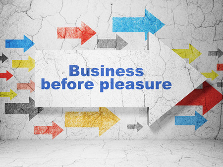 before: Business concept:  arrow with Business Before pleasure on grunge textured concrete wall background, 3D rendering
