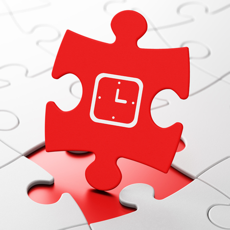 pause icon: Timeline concept: Watch on Red puzzle pieces background, 3D rendering Stock Photo