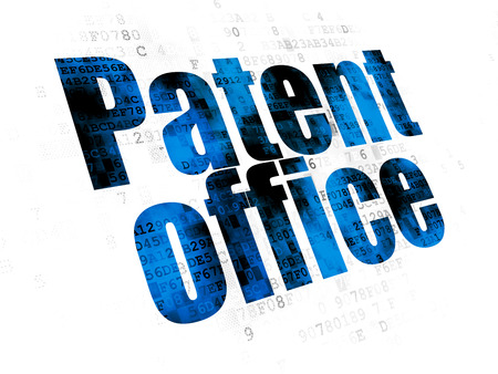 Law concept: Pixelated blue text Patent Office on Digital background