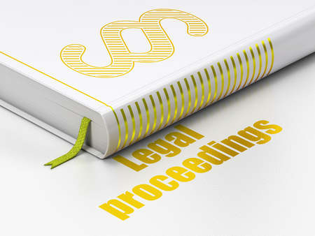 proceedings: Law concept: closed book with Gold Paragraph icon and text Legal Proceedings on floor, white background, 3D rendering Stock Photo