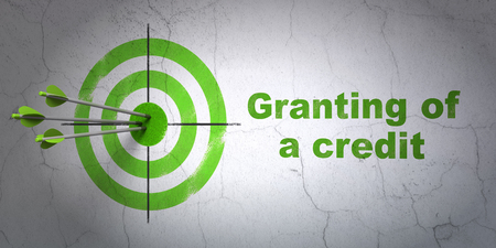 granting: Success banking concept: arrows hitting the center of target, Green Granting of A credit on wall background, 3D rendering