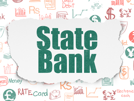 torn: Money concept: Painted green text State Bank on Torn Paper background with  Hand Drawn Finance Icons Stock Photo