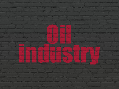 old brick wall: Manufacuring concept: Painted red text Oil Industry on Black Brick wall background