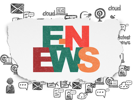torn: News concept: Painted multicolor text E-news on Torn Paper background with  Hand Drawn News Icons Stock Photo