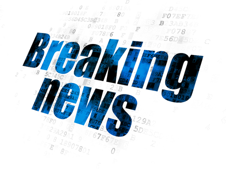 News concept: Pixelated blue text Breaking News on Digital background
