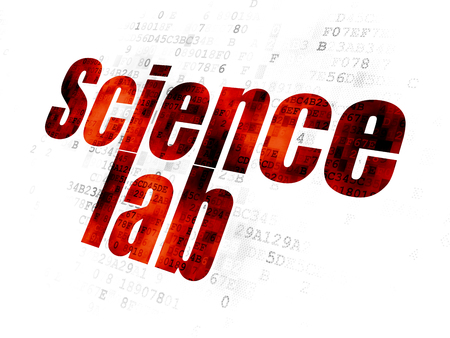 pixelated: Science concept: Pixelated red text Science Lab on Digital background