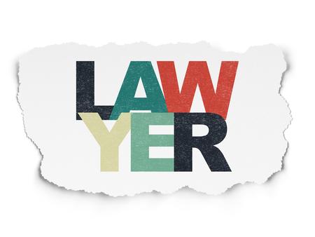Concepto de ley: Abogado de texto multicolor pintado sobre fondo de papel rasgado