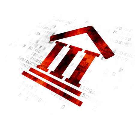 building regulations: Law concept: Pixelated red Courthouse icon on Digital background