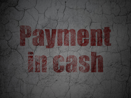 cash money: Money concept: Red Payment In Cash on grunge textured concrete wall background