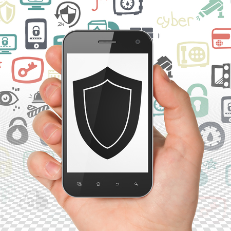 grey pattern: Security concept: Hand Holding Smartphone with  black Shield icon on display,  Hand Drawn Security Icons background, 3D rendering Stock Photo