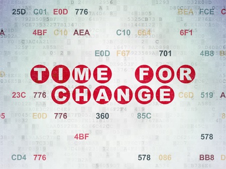 Time concept: Painted red text Time for Change on Digital Data Paper background with Hexadecimal Code Reklamní fotografie
