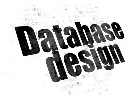 css: Software concept: Pixelated black text Database Design on Digital background