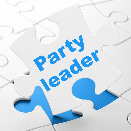Political concept: Party Leader on White puzzle pieces background, 3D rendering