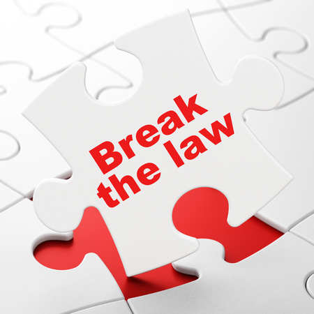 Law concept: Break The Law on White puzzle pieces background, 3D rendering