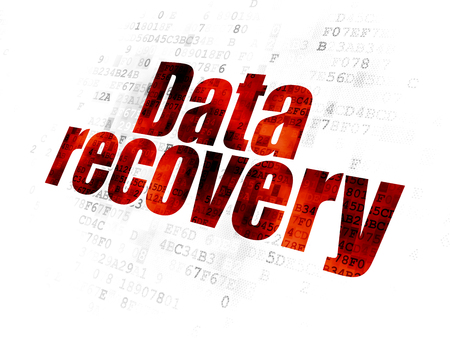 Information concept: Pixelated red text Data Recovery on Digital background