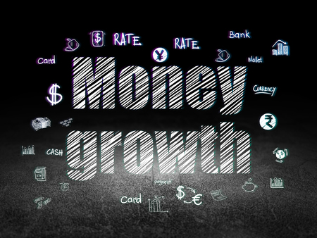 scratches: Currency concept: Glowing text Money Growth,  Hand Drawn Finance Icons in grunge dark room with Dirty Floor, black background