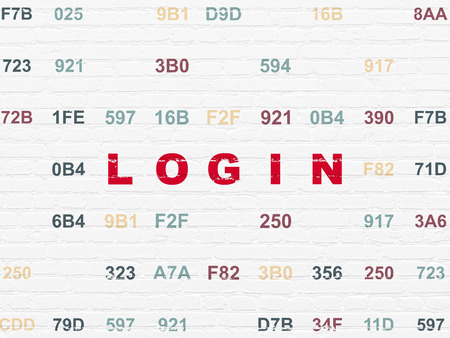 Privacy concept: Painted red text Login on White Brick wall background with Hexadecimal Code Stock Photo