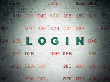 Protection concept: Painted green text Login on Digital Data Paper background with Hexadecimal Code Stock Photo