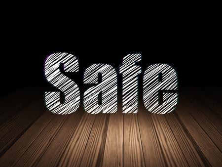 scratches: Safety concept: Glowing text Safe in grunge dark room with Wooden Floor, black background