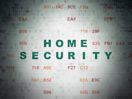 privat: Safety concept: Painted green text Home Security on Digital Data Paper background with Hexadecimal Code