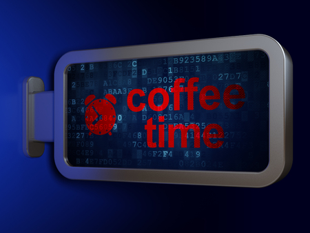 Time concept: Coffee Time and Alarm Clock on advertising billboard background, 3D rendering