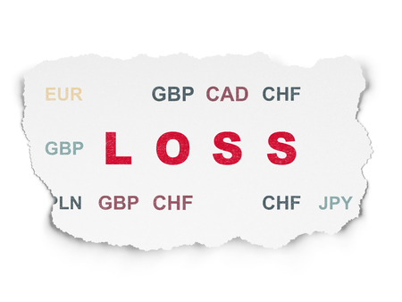 loss leader: Finance concept: Painted red text Loss on Torn Paper background with  Currency