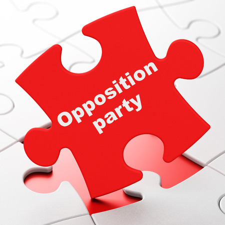 brainteaser: Political concept: Opposition Party on Red puzzle pieces background, 3D rendering Stock Photo