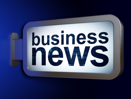 urgent announcement: News concept: Business News on advertising billboard background, 3D rendering