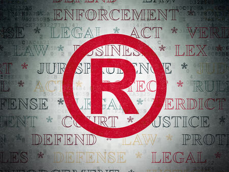 r regulation: Law concept: Painted red Registered icon on Digital Data Paper background with  Tag Cloud