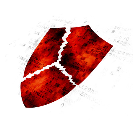 Privacy concept: Pixelated red Broken Shield icon on Digital background