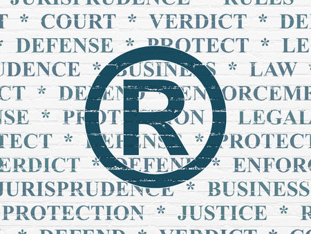 r regulation: Law concept: Painted blue Registered icon on White Brick wall background with  Tag Cloud