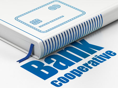 Money concept: closed book with Blue Credit Card icon and text Bank Cooperative on floor, white background, 3D rendering Stock Photo