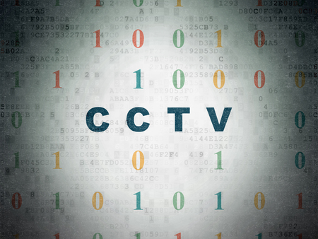 Safety concept: Painted blue text CCTV on Digital Data Paper background with Binary Code