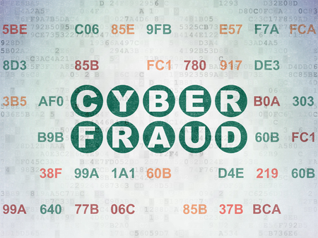 Safety concept: Painted green text Cyber Fraud on Digital Data Paper background with Hexadecimal Code Stock Photo