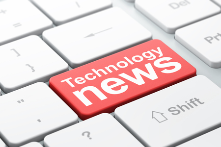 urgent announcement: News concept: computer keyboard with word Technology News, selected focus on enter button background, 3D rendering