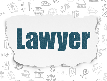 Law concept: Painted blue text Lawyer on Torn Paper background with  Hand Drawn Law Icons Stock Photo