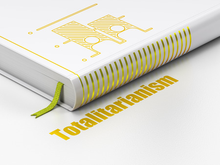 Political concept: closed book with Gold Election icon and text Totalitarianism on floor, white background, 3D rendering