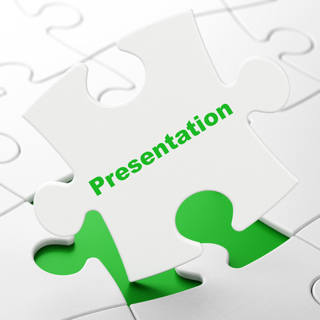 Marketing concept: Presentation on White puzzle pieces background, 3D rendering