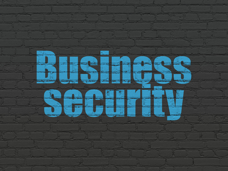Protection concept: Painted blue text Business Security on Black Brick wall background