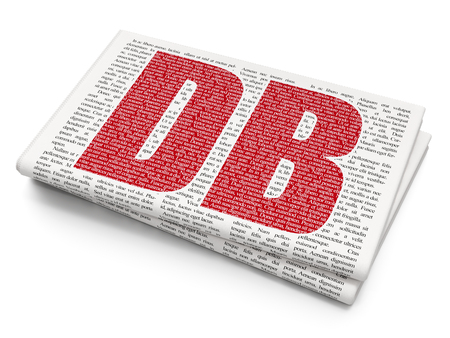 Stock market indexes concept: Pixelated red text DB on Newspaper background, 3D rendering