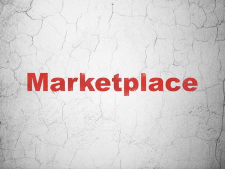 Advertising concept: Red Marketplace on textured concrete wall background